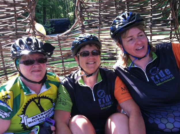 Kay, me and Meggie hanging out in the hive at the Menominee River Century