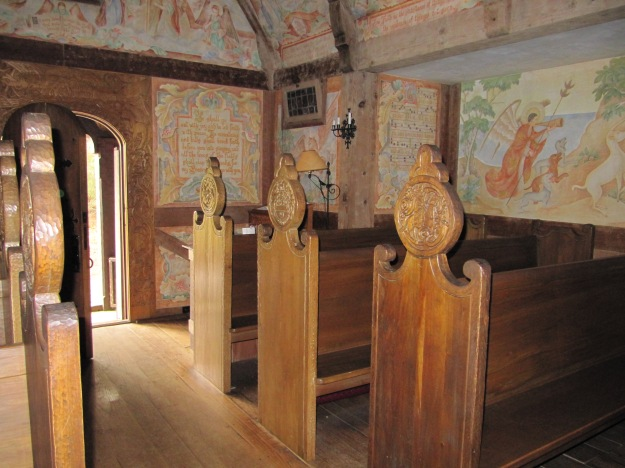 Interior of Boynton Chapel.  All paintings and carvings done by Winifred and Donald Boynton.