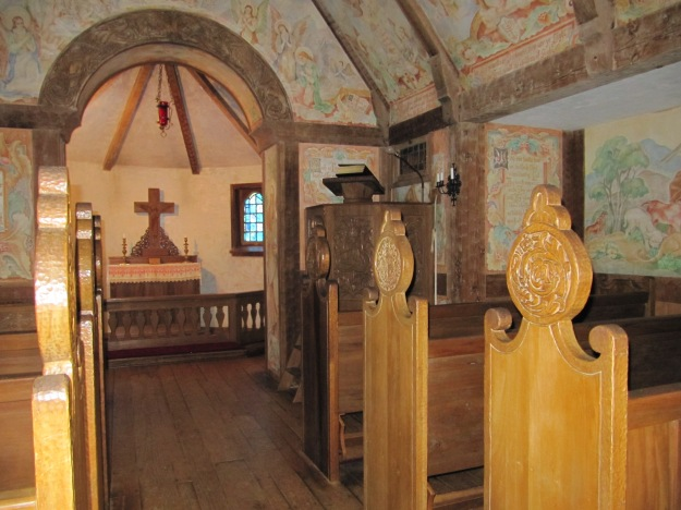 Front of the chapel.  Even the pulpit was hand carved.