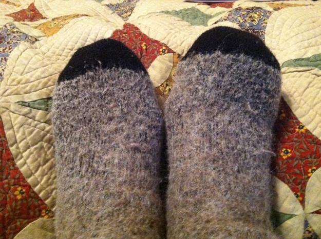 My winter feet all snug and cozy in my alpaca wool socks.