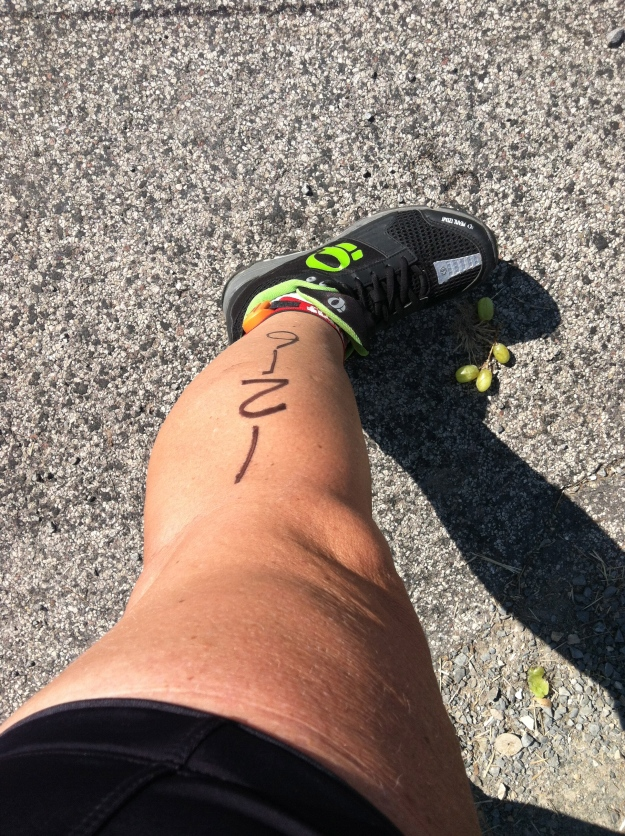 My sweaty leg and foot in the middle of Race the Lake (bicycle race).