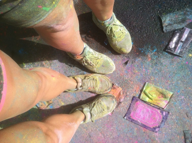Mine and Meghan's feet right after we finished the Run or Dye color run.