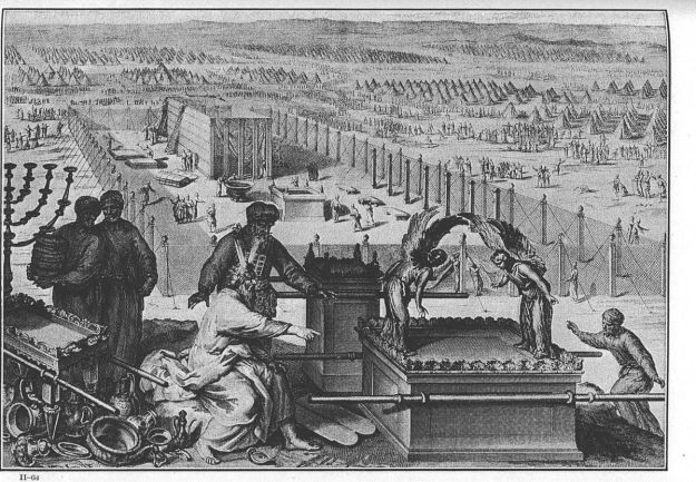 """""""Figures The erection of the Tabernacle and the Sacred vessels"""" by illustrators of the 1728 Figures de la Bible, Gerard Hoet (1648–1733) and others, published by P. de Hondt in The Hague in 1728 - http://www.wcg.org/images/b2/_0303160501_038.jpg. Licensed under Public domain via Wikimedia Commons."""